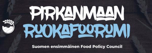 logo, musta tausta valkoisella ja sinisellä teksti Pirkanmaan ruokafoorumi
