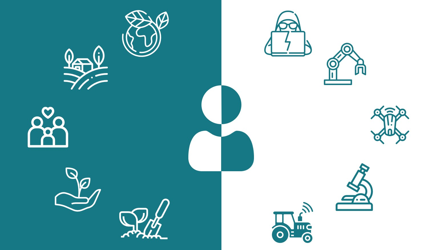 kuvituskuva, sinivihreä ja valkoinen tausta, jossa maatalouteen ja teknologiaan liittyviä kuvakkeita