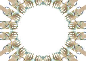 puisia haarikoita ympyrässä, lanka yhdistää