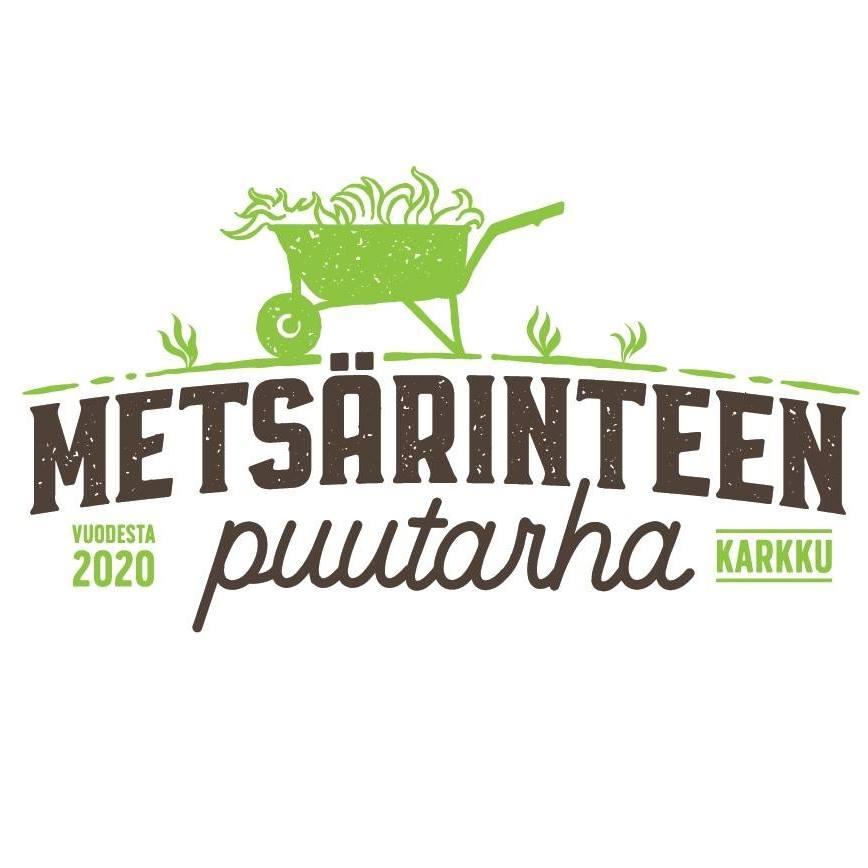 metsärinteen puutarha, logo, kottikärryt