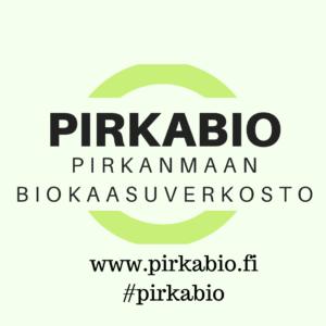 pirkabio-logo, musta teksti ja vaaleanvihreä tausta