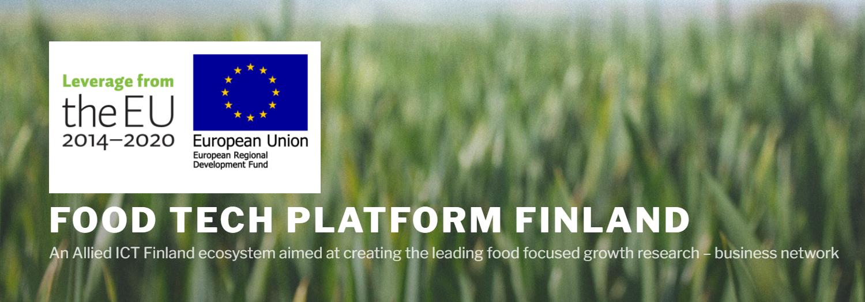 taustalla viljapeltoa, päällä teksti Food Tech Platform Finland
