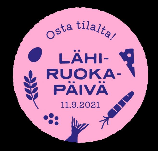 pinkki pyöreä logo, jossa sinisellä teskti lähiruokapäivä 11.9.2021 ja sinisellä kuva porkkanasta, kalanpyrstö, juusto, marja, lehti