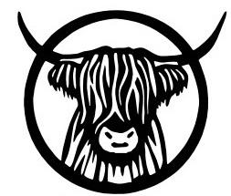 logo, musta piirroskuva ylämaankarjan päästä