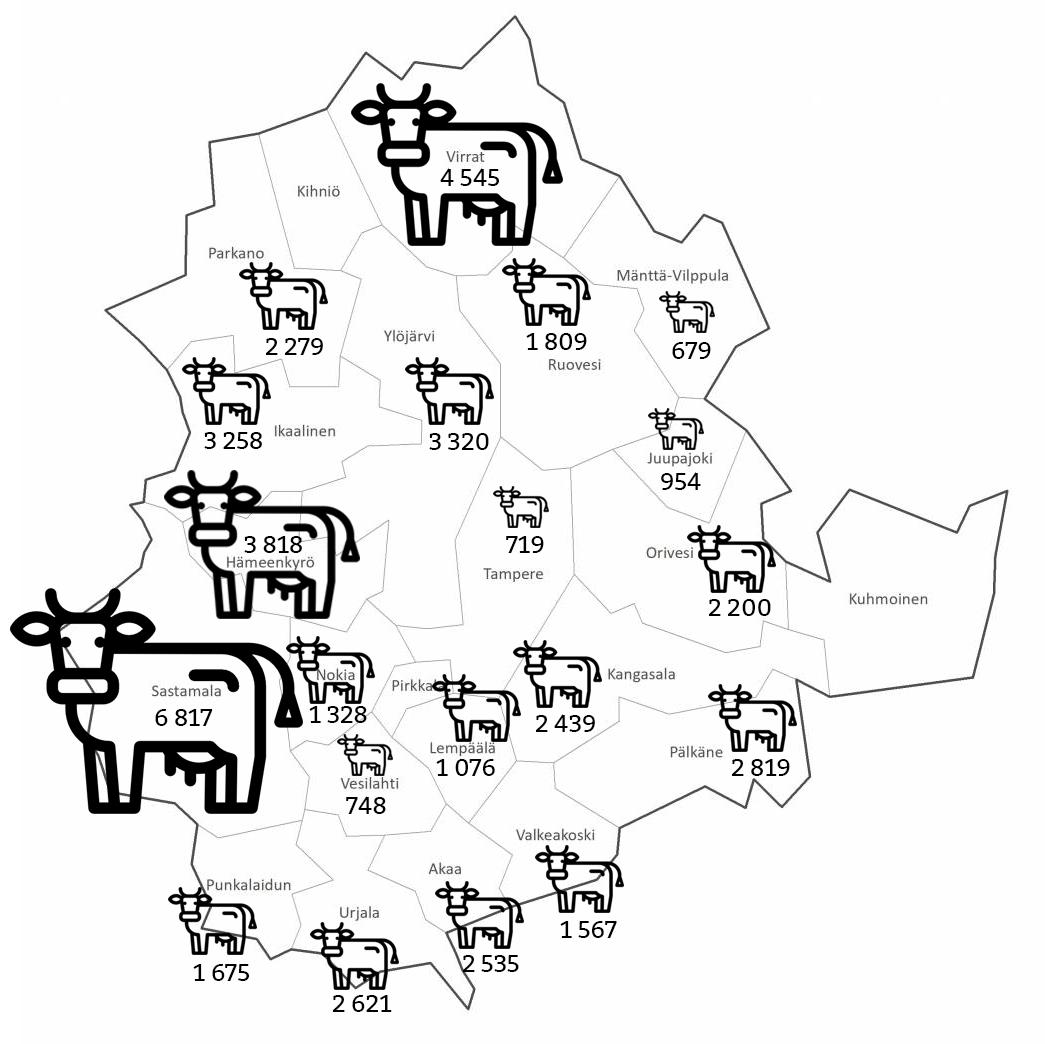 lehmien lukumäärä Pirkanmaalla