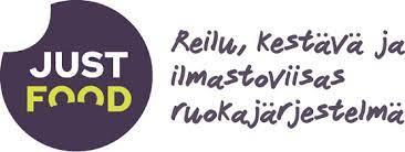 Just Food -logo, violetti pallo, valkoisella Just, vihreällä Food, reilu, kestävä ja ilmastoviisas ruokajärjestelmä